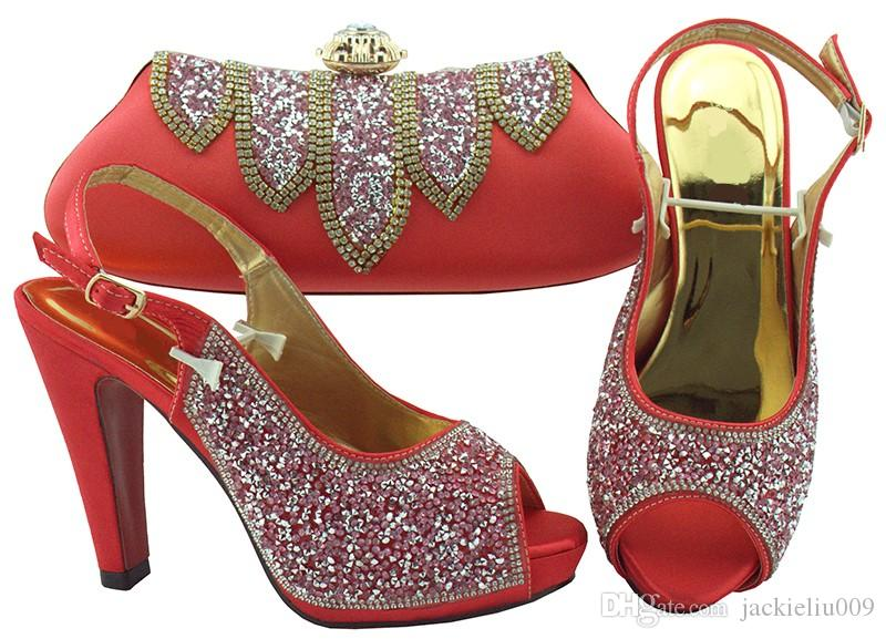 Bombas quentes mulheres venda de coral jogo bolsa de definir com sapatos africanos strass e saco para FGT002 vestido, salto 12CM