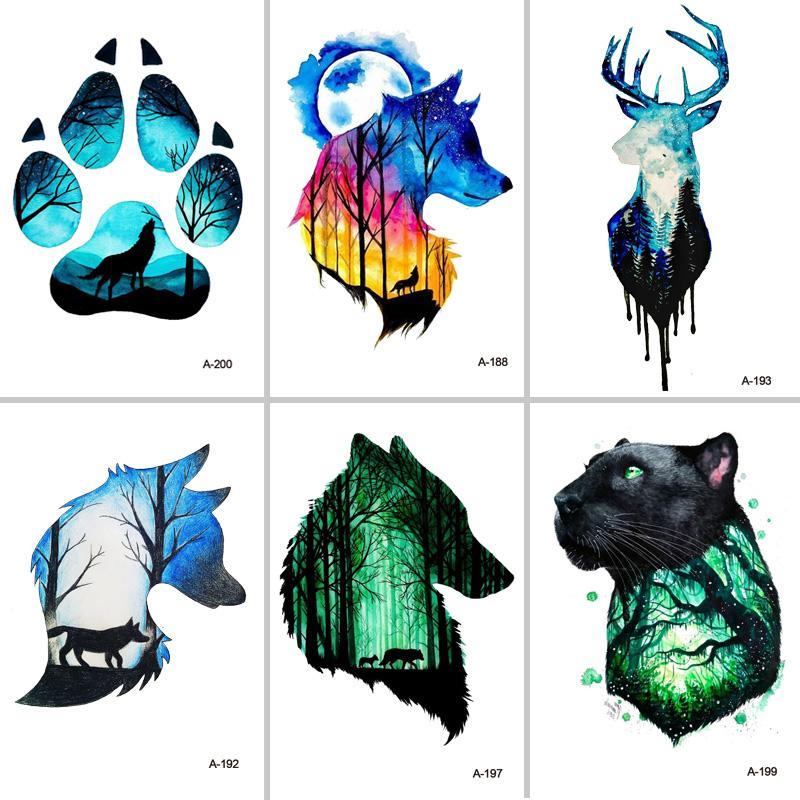 Design Wolf Head Animal Temporary Tattoo For Men Waterproof Tattoo Sticker Fashion Body Art Beauty Tool