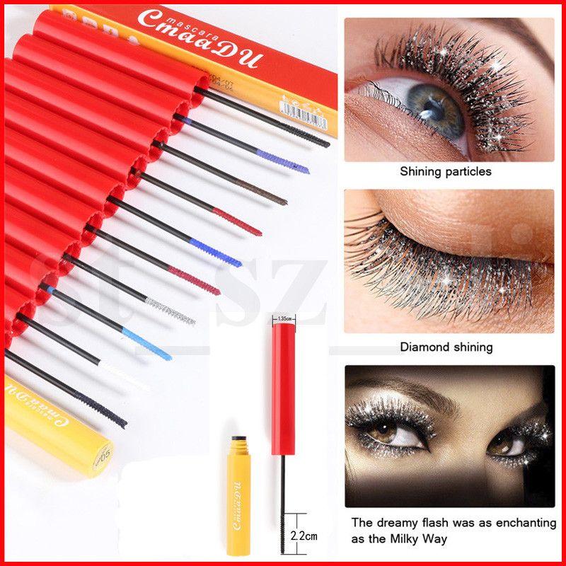 CmaaDU Colorful Mascara Professional Eyes Makeup Waterproof Easy Remove White Red Black Purple Lengthen Eyelashes Color Mascara 10 Colors
