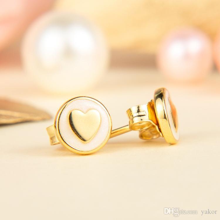 YENI 18 K Sarı Altın Saplama Küpe Orijinal Kutusu set Takı Pandora 925 Gümüş Kalp Küpe Kadın Kızlar Hediye için