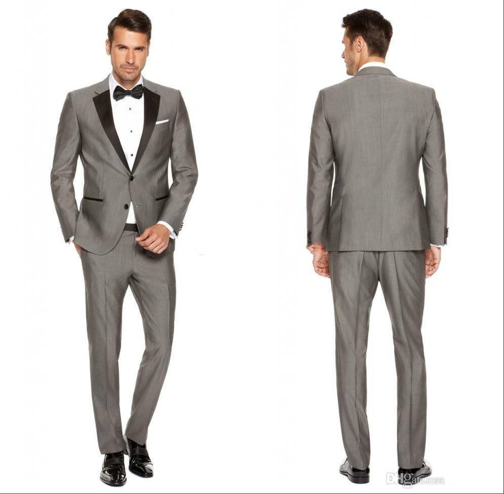 Серые мужские свадебные смокинги с черным вырезом отворотом жениха смокинги популярный мужчина пиджаки куртка отлично 2 шт. Костюмы (куртка + брюки + галстук) 1285