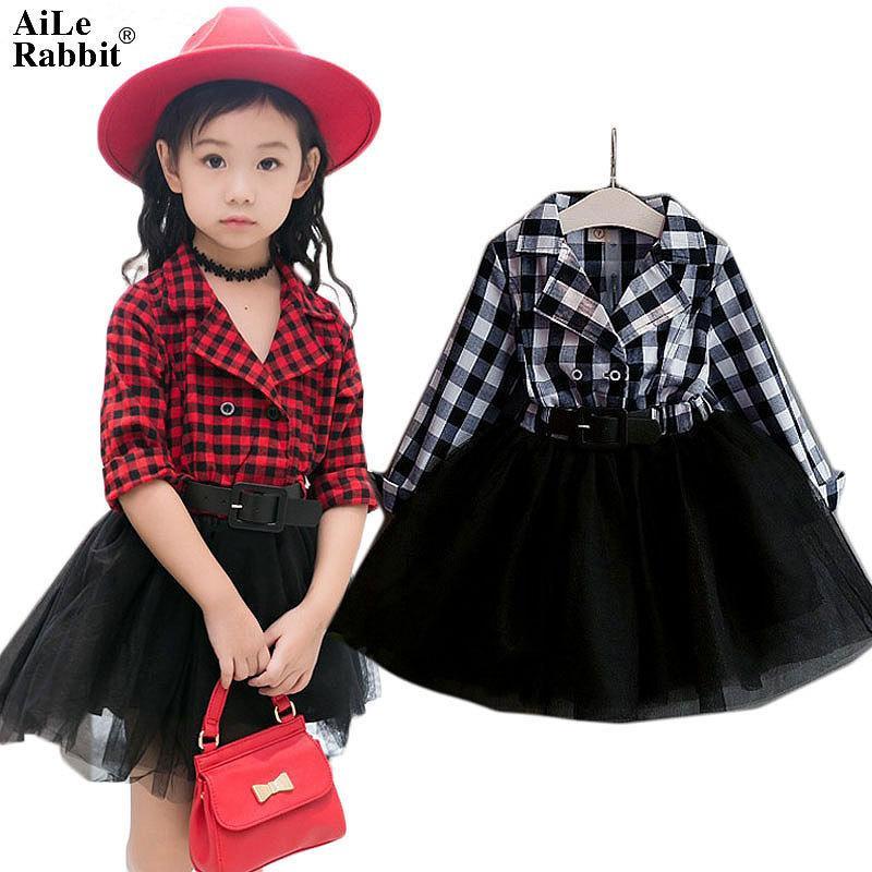 Aile Tavşan Kızlar Tutu Elbiseler İlkbahar Sonbahar Tam Kollu Çocuk giyim Ekose Dantel Elbise Kıyafetler Çocuk Giysileri K1 MX190724