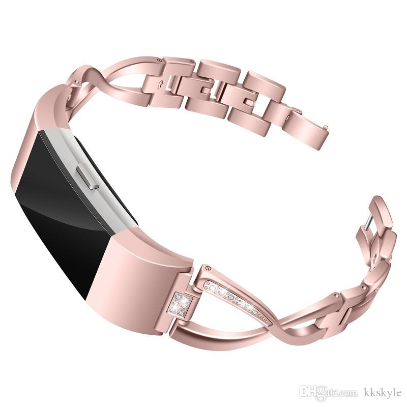 Bling Bands Compatible Fitbit Charge 2 Smart Watch, Metal Replacement Accessories Bracelet with Rhinestone for Fitbit Charge 2 HR