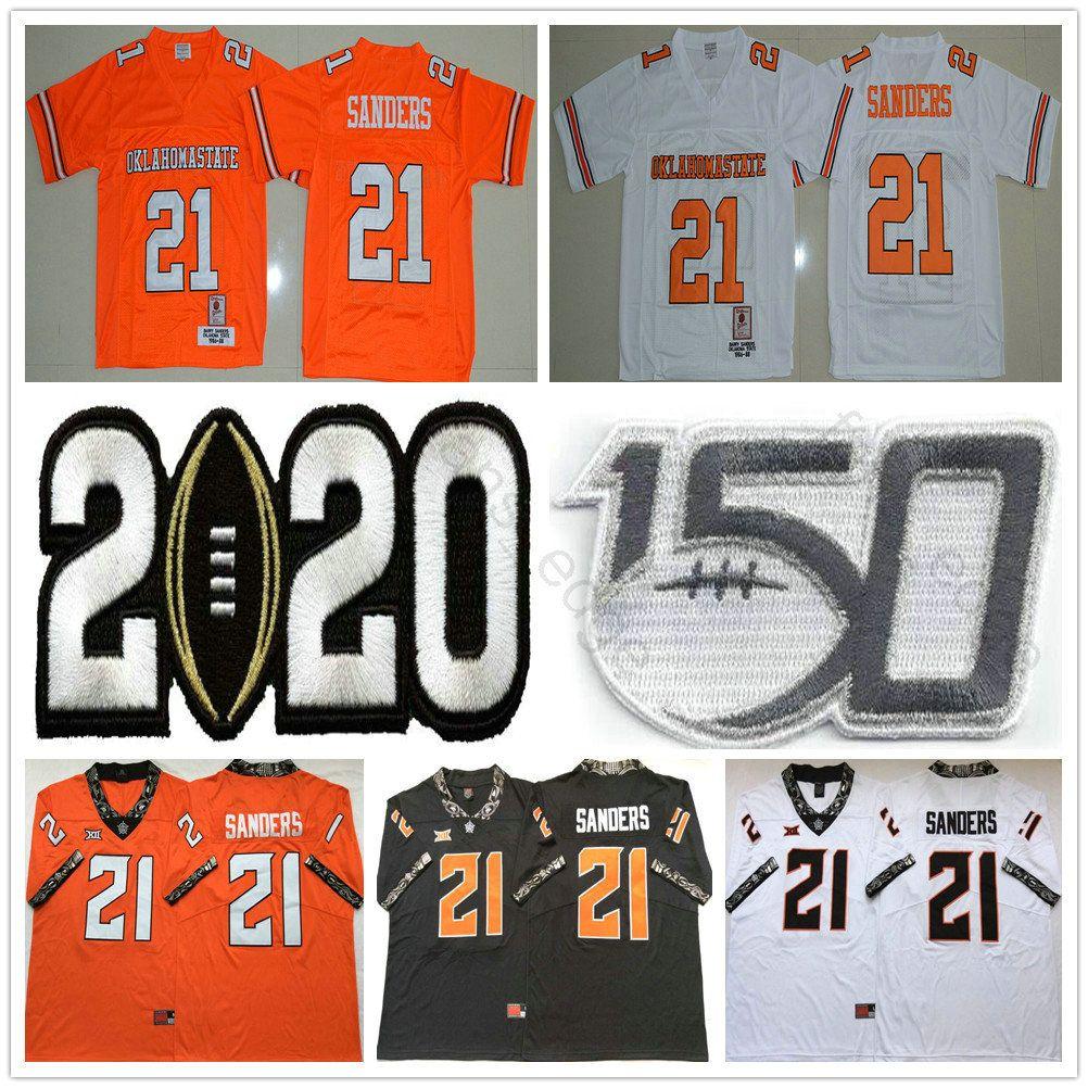 1986-1988 retro del Colegio del Estado de Oklahoma # 21 Barry Sanders Jersey Naranja Blanco Negro Barry Sanders NCAA 150 Universidad camiseta de fútbol