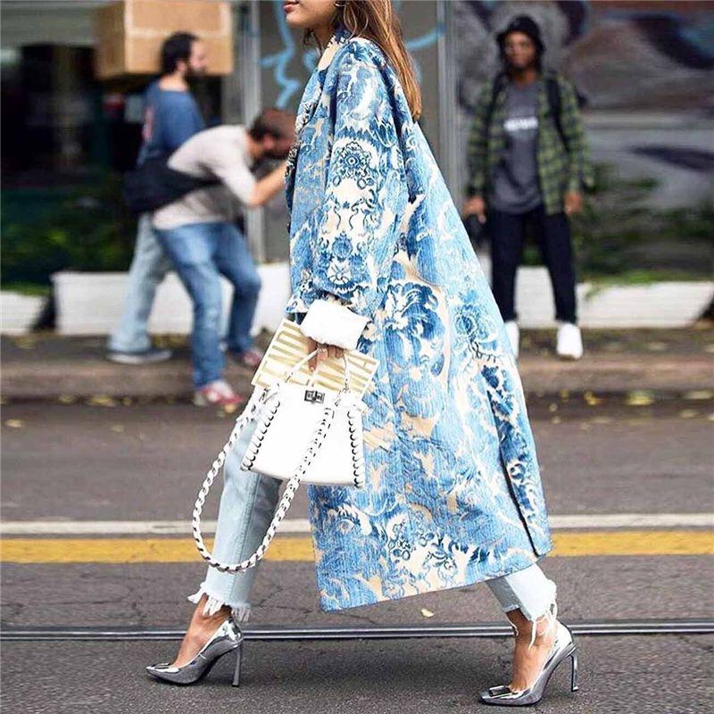 Sonbahar Bayan Çiçek Desen Baskılı Ceket Uzun Karışımları Mont Kadın Zarif Vintage Kol Parti Kadın Kış 2021