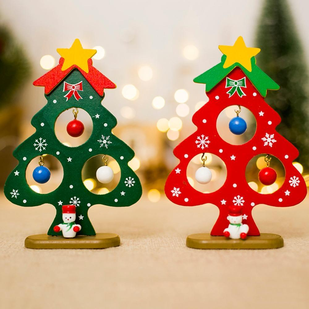 Small Christmas tree ornament Mini painted Christmas tree Christmas decorations Wooden card New Year decorations for home