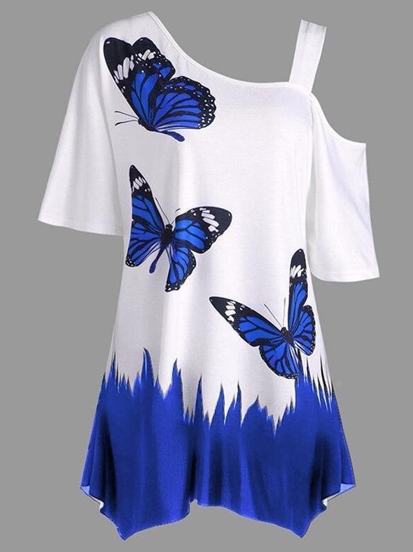الصيف الساخن كبيرة الحجم المرأة الفراشة مطبوعة تي شيرت تصميم الأزياء أنثى عزباء حزام الكتف الفراشة بلايز تي شيرت S-5XL