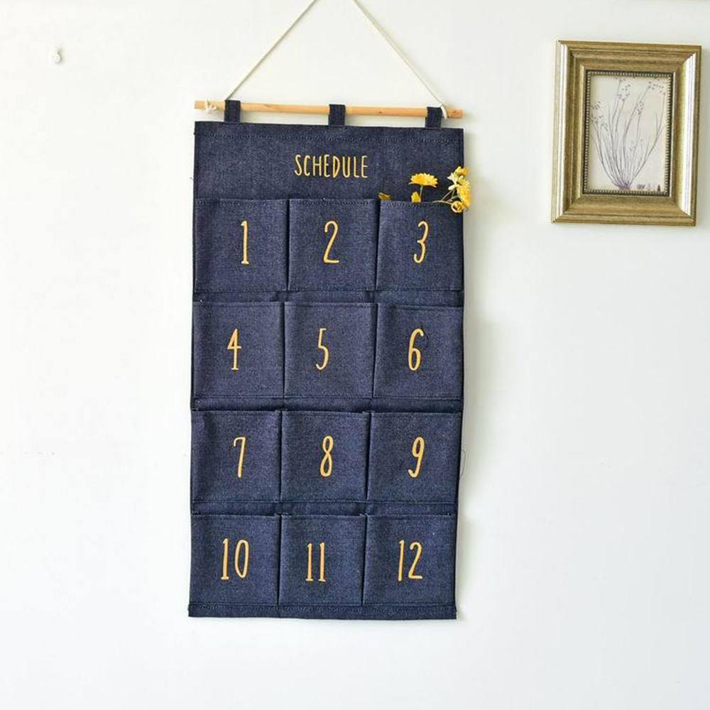 Mehrfarben Stoff Denim Haus hängende Beutel 12 Taschen kreative monatiger Lagerung hängende Beutel Schranktür hinter der Wand hängenden