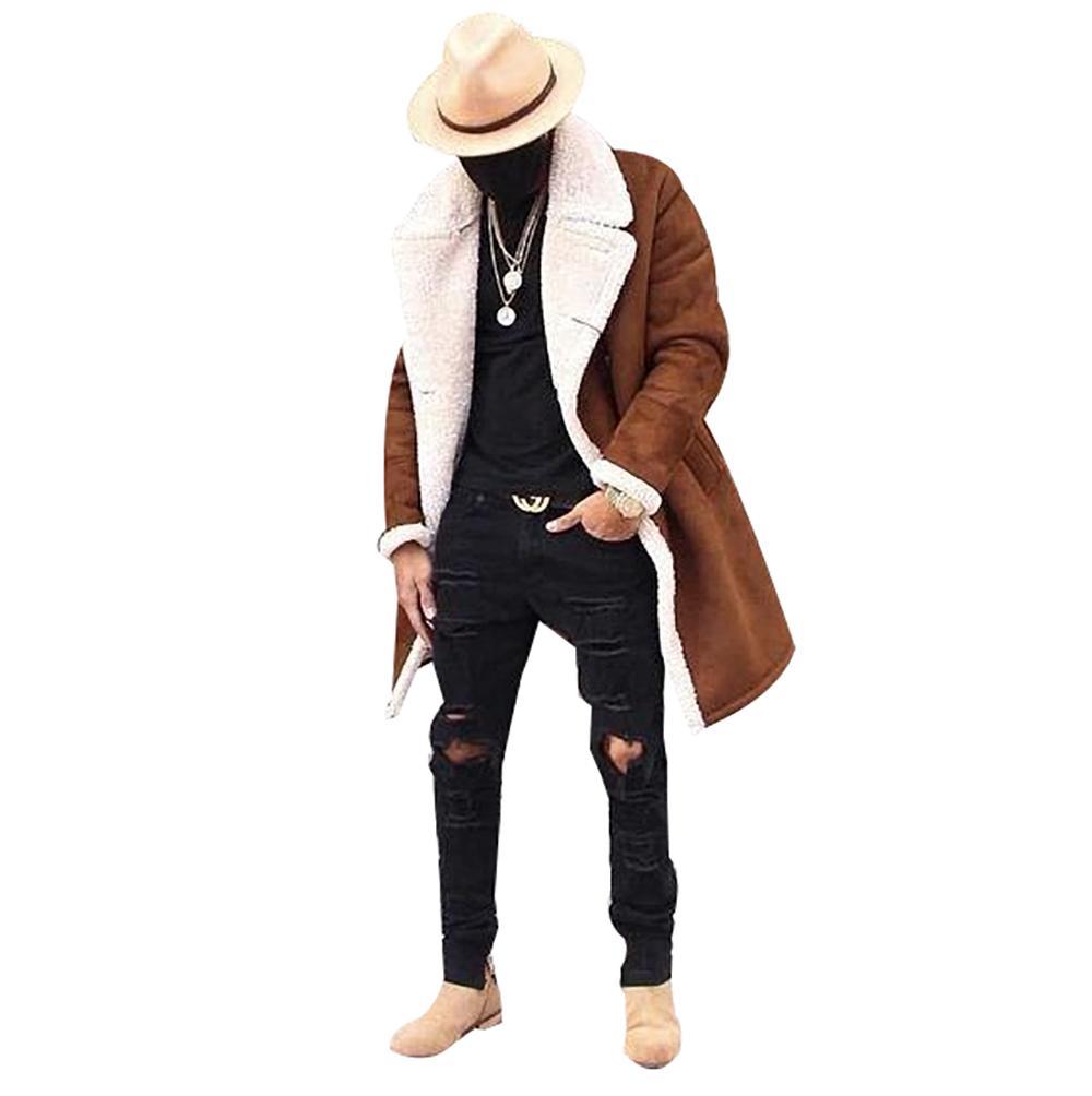 Giacca caldo cappotti Hombre Maschio casuale degli uomini panno morbido di inverno Composite degli uomini di pelle scamosciata Moda inverno spesso Giacche Cappotti Brown NUOVO