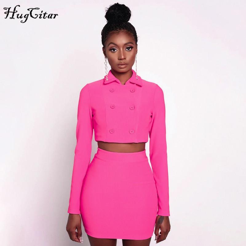 Hugcitar 2019 с длинным рукавом блейзер обрезается куртка юбка 2 шт комплектов осень зима женщин розовый офис леди уличной костюмы