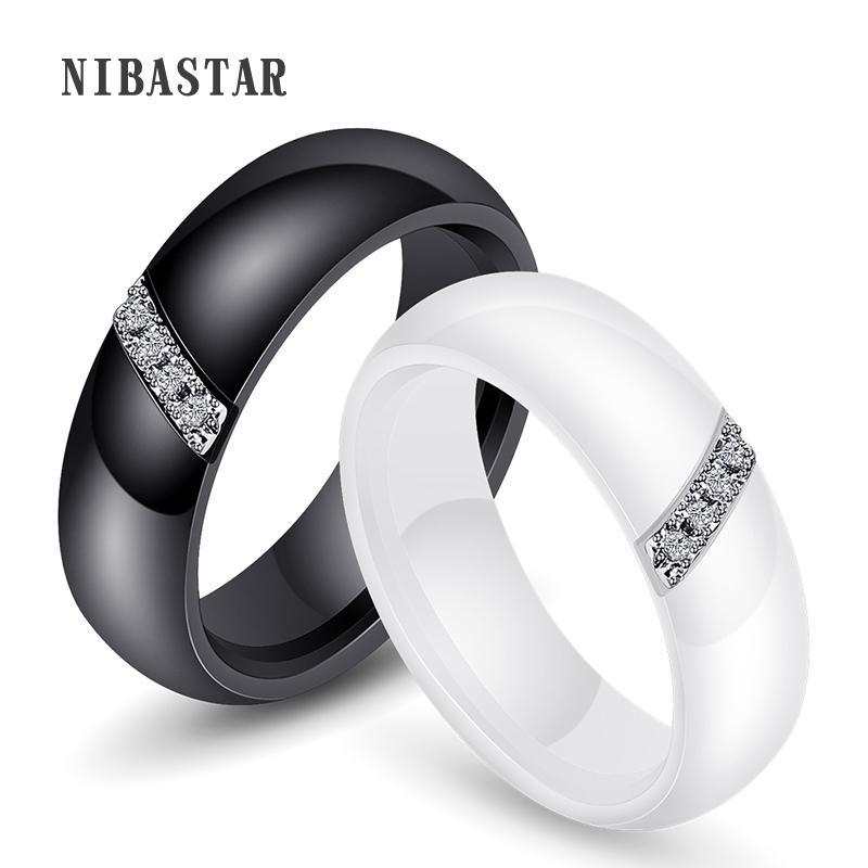 ewelry accessori unici squilla le donne 6 millimetri nero anello di ceramica per le donne di pietra di cristallo Comfort Fedi brand engagement India ...