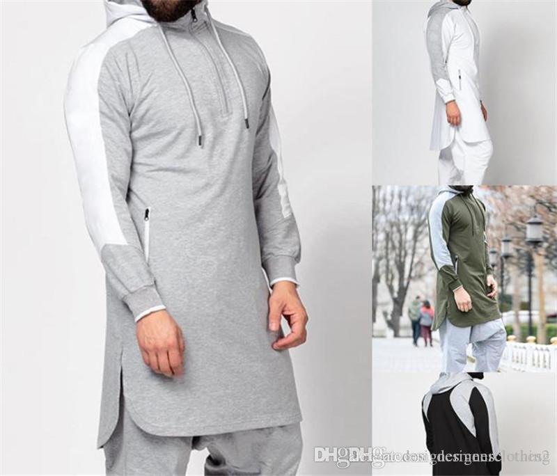 Plus Size Designer Herren Pullover Herbst Split mit Kapuze Patchwork beiläufige Männer lange Sweatshirts Mode Männlich Kleidung