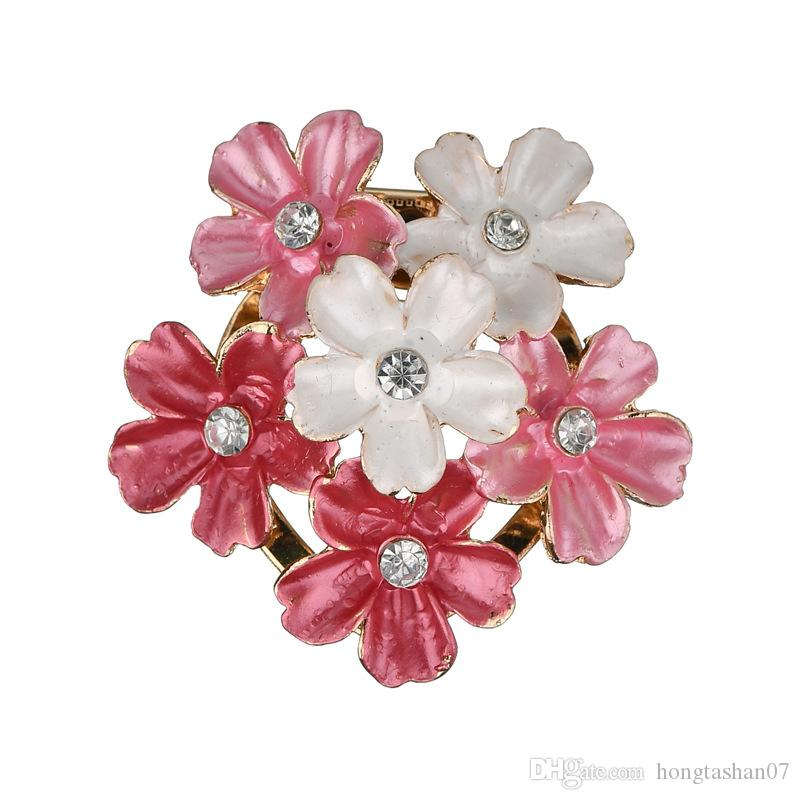 Luxurious New Fashion Wild Pink And White Flower Brooch For Women Clothing Accessories Clothes Jewelry Gifts Scarf b312