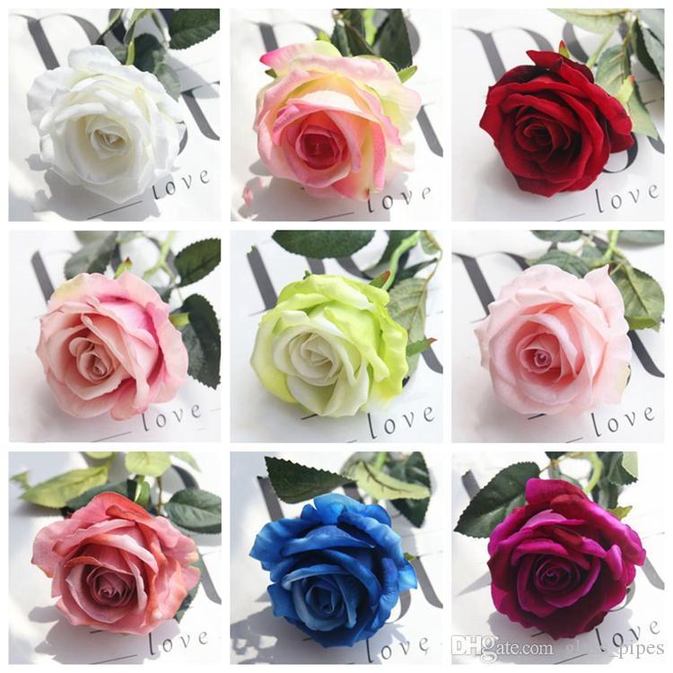 Искусственные цветы реального касания Розы искусственные Шелковый цветок свадьба Главная вечеринку декор свадебный букет YYSY44
