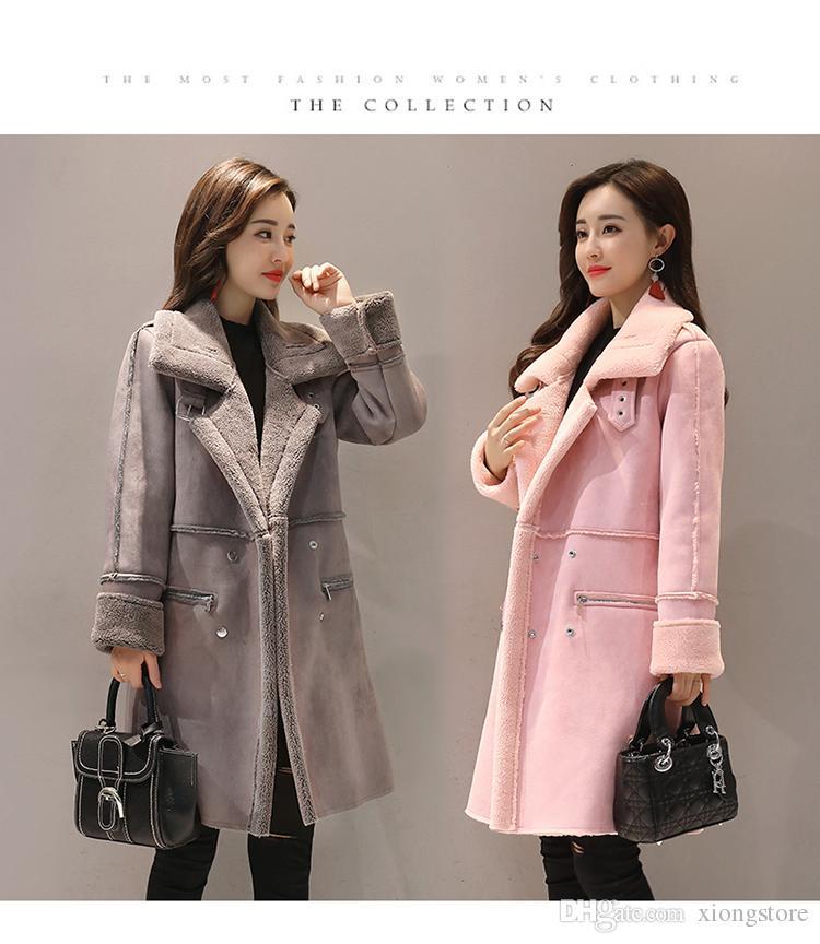2020 Зимние пальто руно Верхняя одежда женщин шерстяное пальто Новая осень зима двубортный сгущает шерстяное пальто Deer Velvet Повседневный Lamb Jacket