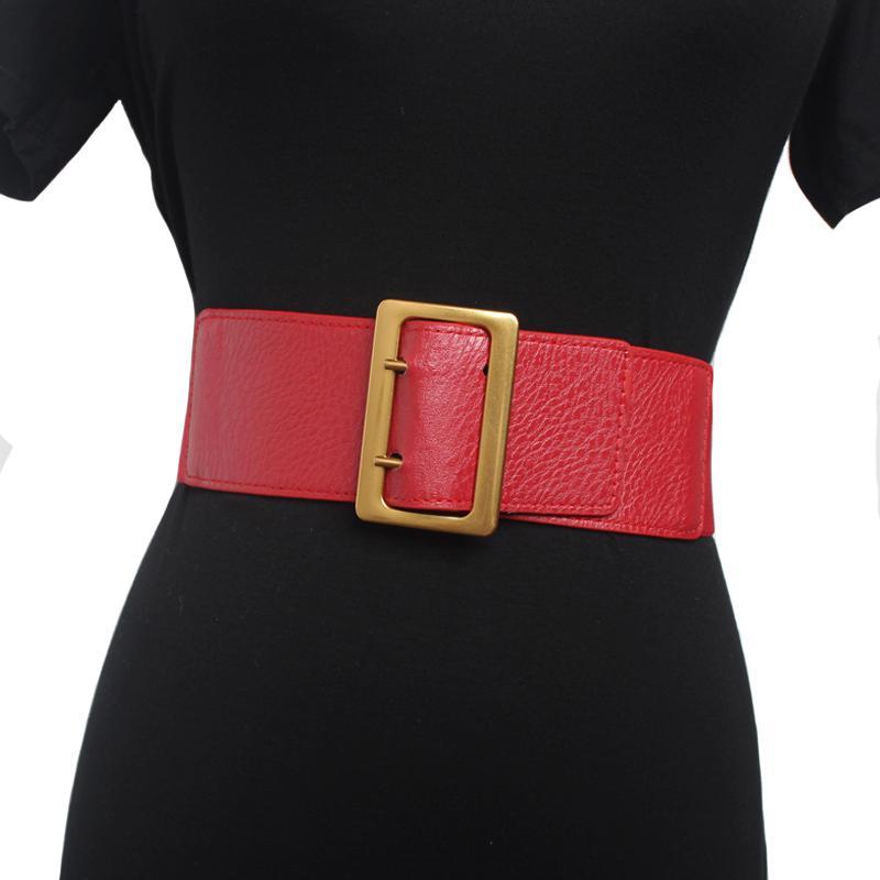 Kadın Altın için Yeni elastik Kayışlar Geniş toka ceinture femme beyaz siyah deri kemer bayanlar Giyim Aksesuar kırmızı