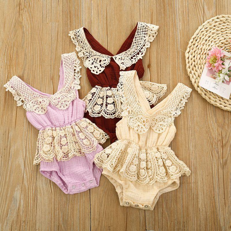 Bebek Bebek Yenidoğan Kız Giysileri Pamuk ve Keten Dantel Kenar Backless Bel Kız Bebek Bodysuit Sling Paletli Bebek Romper Giysileri 0-12 M