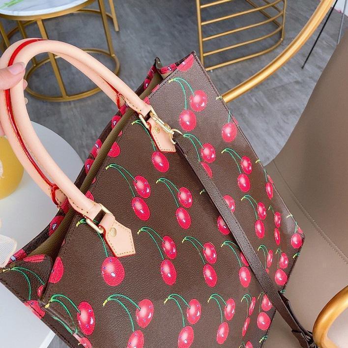 Bolsos del diseñador bolsos de las mujeres del bolso del totalizador con cuero de cereza Patrón bolso del diseñador 33cm Monedero Mejor hristmas regalo