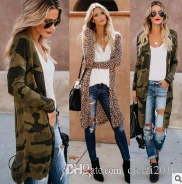Women's Trench Coats European and American Spring And Autumn Camouflage Cardigan Women's Long Windbreaker Fast Delivery 20191113-01