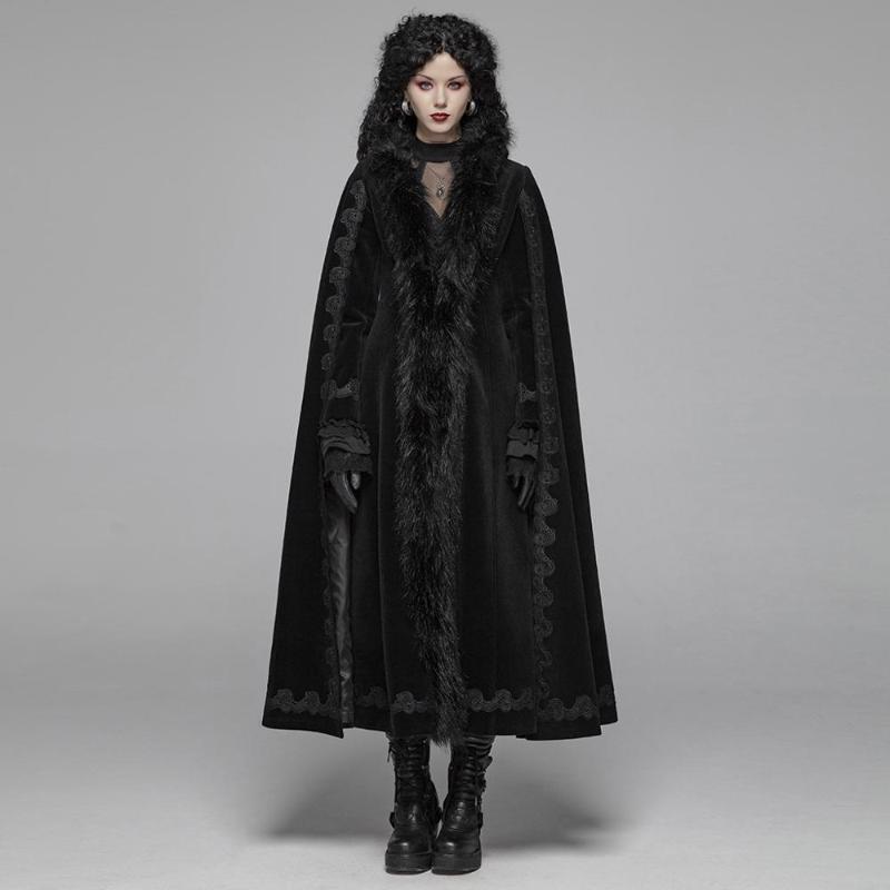 PUNK RAVE KADIN Gotik Vintage Muhteşem Uzun Coat Kollu, pelerin şekil, ön orta WY1035 üzerinde taklit tüylü şeritler