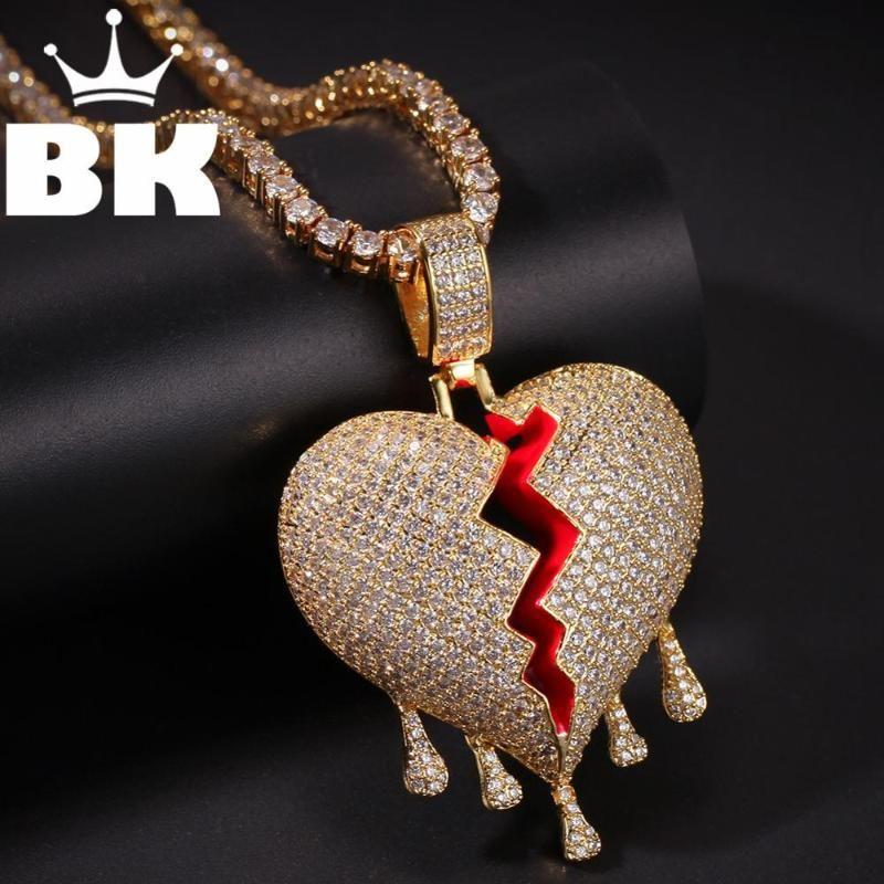The BLING KING Custom a broken heart with water droplets ожерелье хип-хоп полный ледяной кубический цирконий Золотая щепка CZ камень