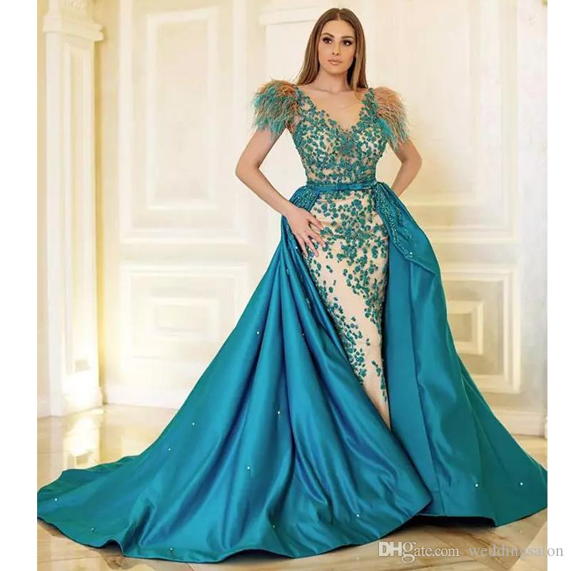 Newest Mermaid Feather Evening Dresses Detachable Train Beading Bow Tie Sash Celebrity Dress Satin Long Train Evening Gowns