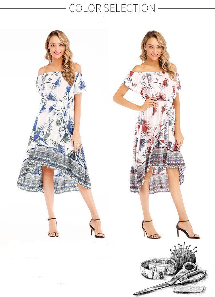 Women beach dress Summer dresses Sexy Word shoulder Floralprint Highquality Hot selling Chinawomenclothingmanufacturer