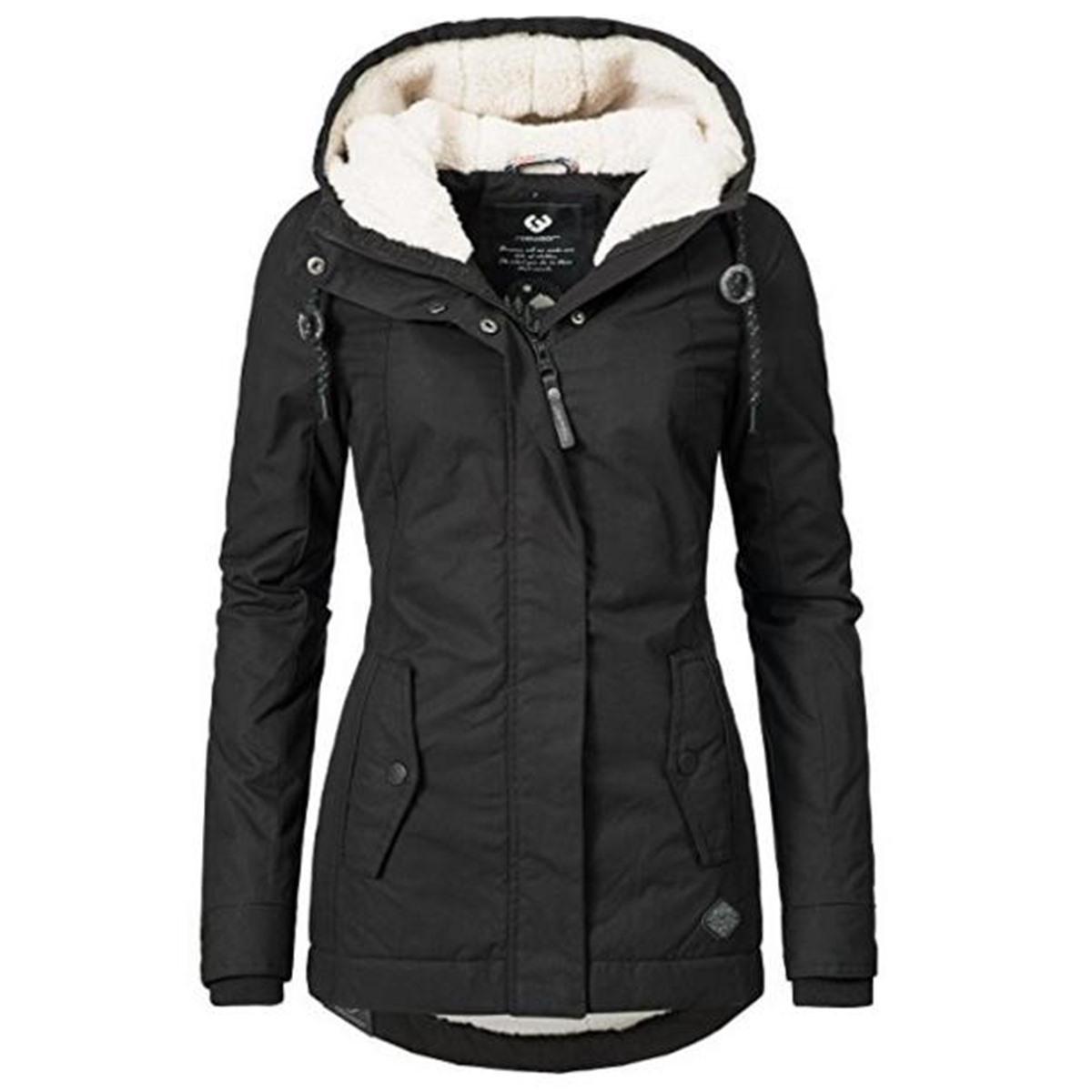 Siyah Pamuk Palto Kadınlar Casual Kapşonlu Ceket Kaban Moda Basit Yüksek Sokak Ince 2019 Kış Sıcak Kalınlaşmak Temel Kadın T190817 Tops