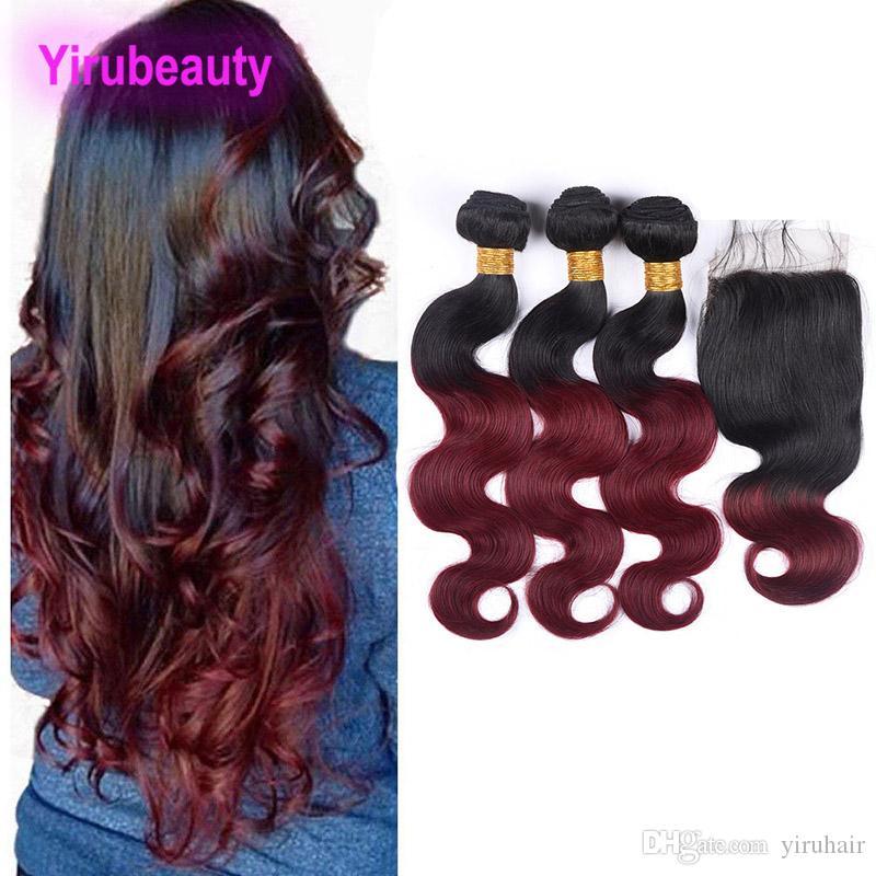 Brésil Virgin Hair 3 Bundles Avec 4X4 dentelle fermeture 1B / 99J corps Bundles waves avec bébé cheveux fermeture 4 pièces / lot 1B 99J Hair Extensions