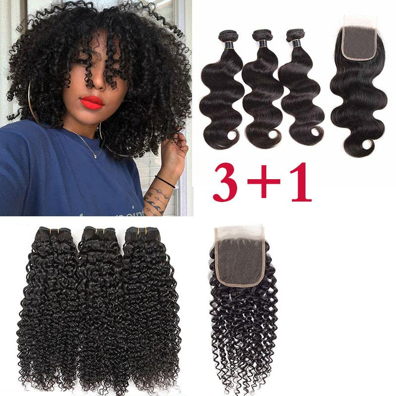 Lace Closures With 3 Bundles Brazilian Virgin Hair Weaves Malaysian Indian Peruvian Straight Kinky Curly Remy Human Hair wefts With Closure