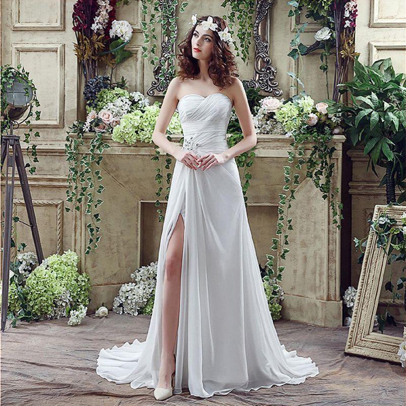 Chiffon Strapless Wedding Dress Sleeveless Floor Long A Line Beaded Wedding Dress Court Train Side Split Custom