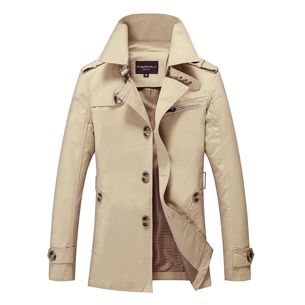 Новые мужские пальто моды Человек средней длины весна осень британский стиль Тонкий куртка ветровка мужчина плюс размер M-5XL