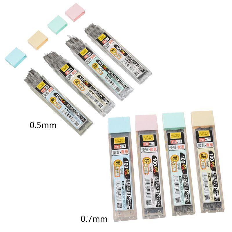 100Pcs/Box 0.5mm 0.7mm Graphite Lead 2b Mechanical Pencil Refill Plastic Automatic Pencil Lead