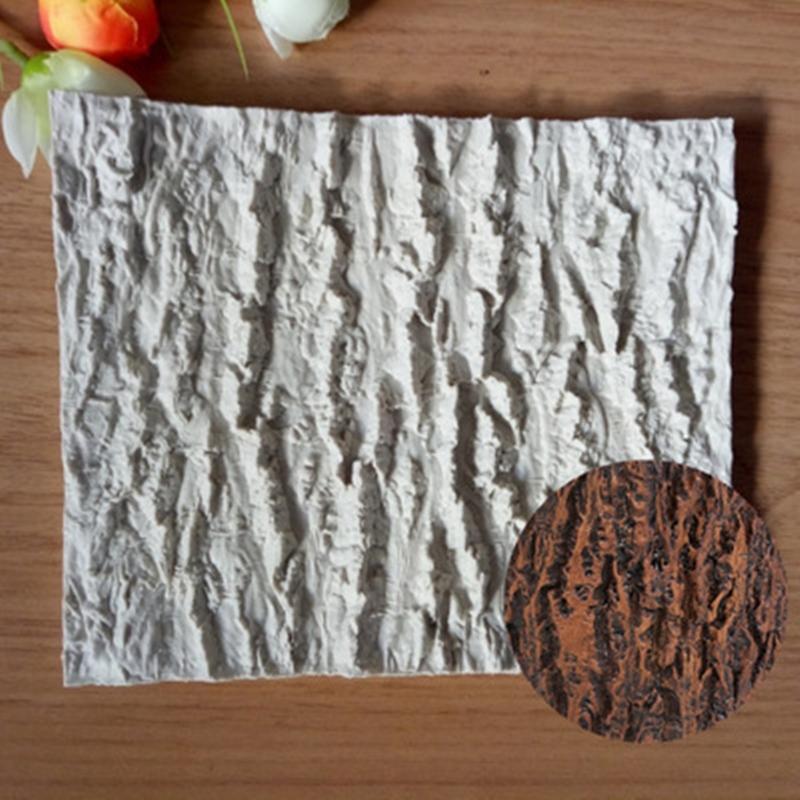 Forma de corteza de árbol Modelado decoración de la torta pasta de azúcar Pudín de chocolate de la galleta del molde del silicón de jabón H717 T200523