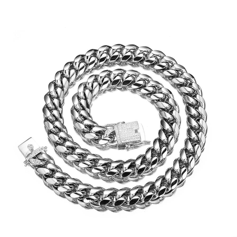 12mm New Fashion Stainless Steel Silver Tone Miami Cuban Curb Link Chain Mens Womens Necklace Or Bracelet Jewelry 7-40inch