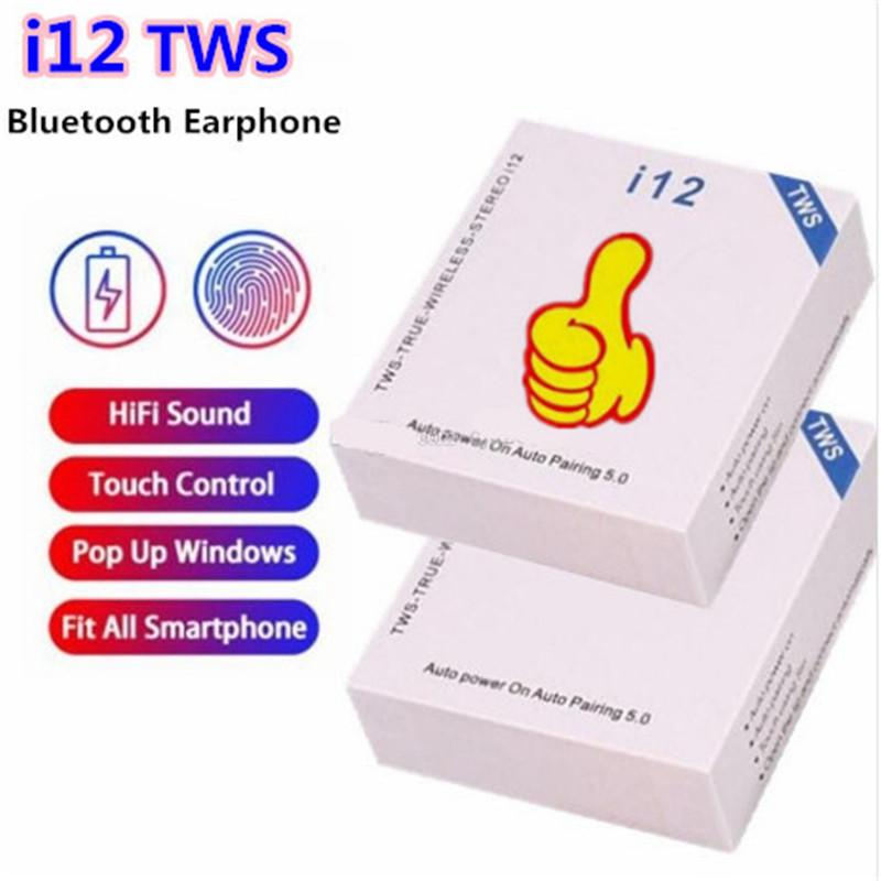 Dokunmatik kontrol SIRI ile i12 TWS Dokunmatik Kablosuz Kulaklık Çift V5.0 Bluetooth Kulaklık Ture stereo Kulaklık kablosuz kulaklık kulaklıklar
