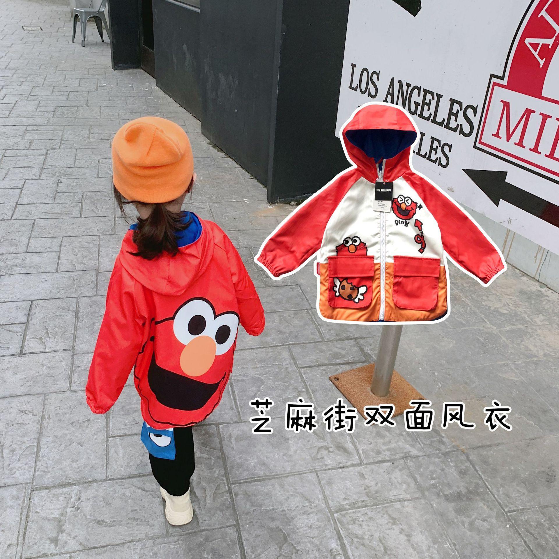 Tonytaobaby otoño y ropa de la historieta de doble cara Niños chaqueta de la capa capa de la chaqueta de los niños de los nuevos niños de la ropa de invierno
