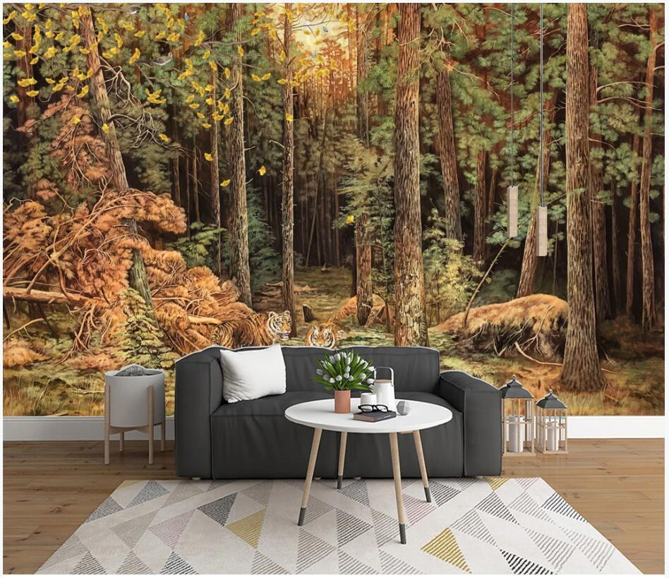 3d wall murals wallpaper for walls 3 d Tiger Forest Animal Oil Painting background living room 3d wallpaer custom photo mural home decor