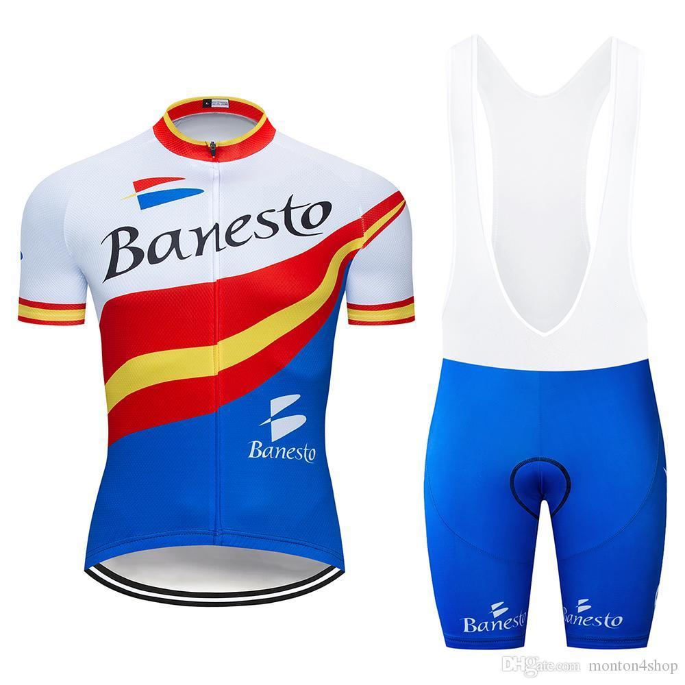 2019 TEAM banesto محترفين ركوب الدراجات جيرسي 19D السراويل هلام الدراجة تناسب MTB ملابس Ciclismo رجل ركوب الدراجات الصيف مايوه الملابس culotte