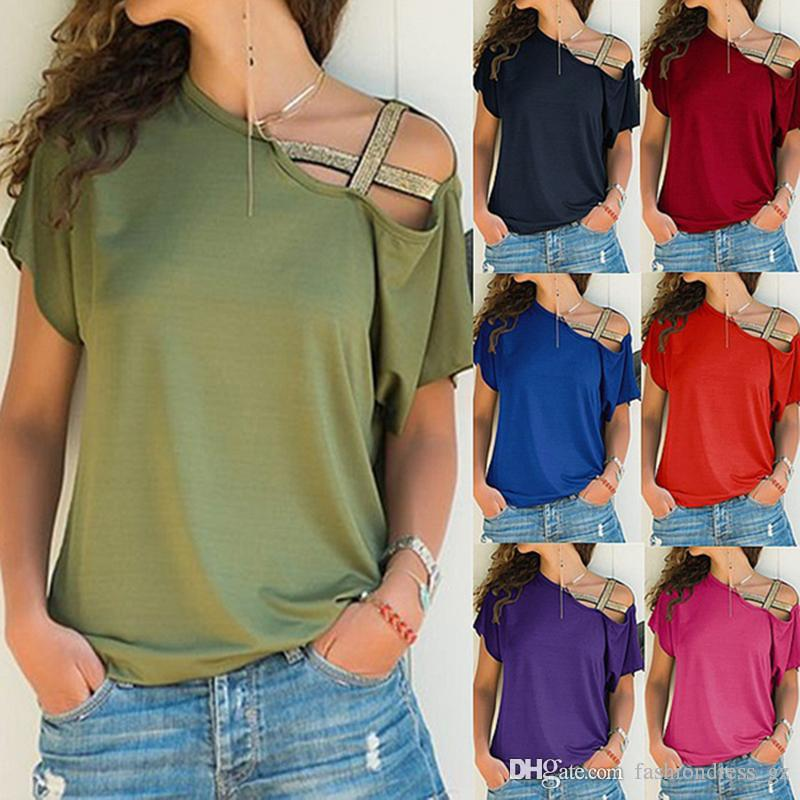 7 Colors 8 size Women T-Shirt Summer Casual Oblique Shoulder Side Shirred Cotton Solid tops Shoulder Cross Belt Fashion Plus Size DHL Free
