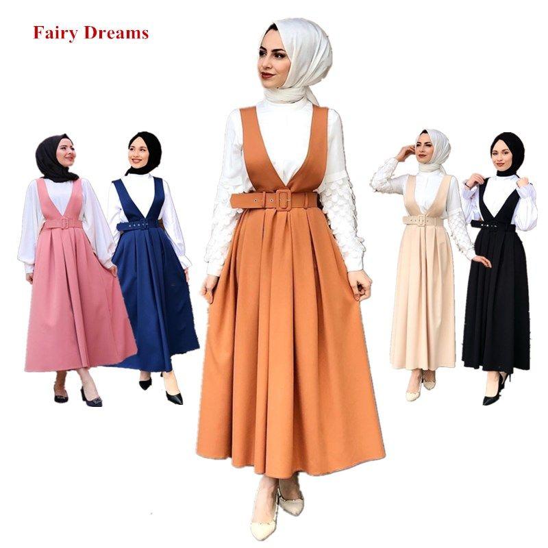 Frauen Muslim Rock Abaya Dubai Türkei Türkisch Islamische Kleidung Overall Damen elegante lange Röcke Schwarz Blau Orange Rosa Beige