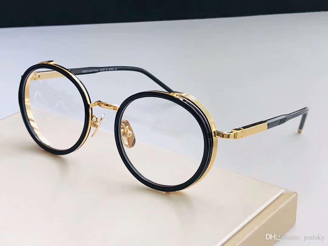 الأزياء جولة نظارات إطار نظارات الذهب الأسود الإطار موضة نظارات النظارات البصرية مربع وث جديد رجالي