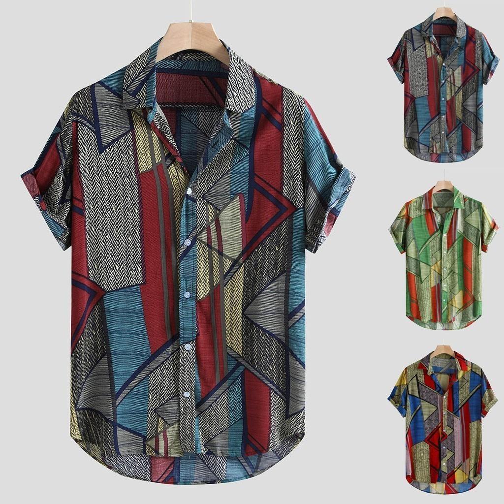 Homens Casuais Camisas Homens de Manga Curta Camiseta Masculina Mens Estilo Étnico Verão Solto Botões Camisa Blusa Tops M-3XL