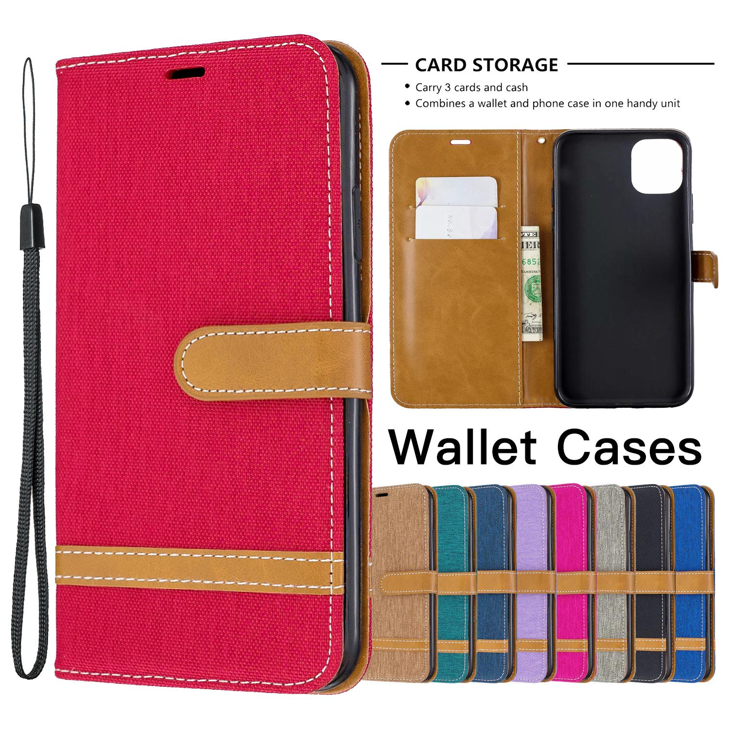 TPU PU Leather Wallet Phone Case for iPhone 11 Pro X XR XS Max 6 7 8 Samsung Galaxy S20 Ultra Plus Denim Cloth Flip Stand Cover Case