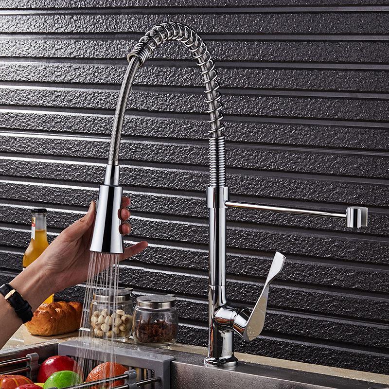 Матовый никель хромирование весной кухонный кран вытащить смеситель 2-Функция воды на выходе водопроводный кран 360 градусов вращающийся кран