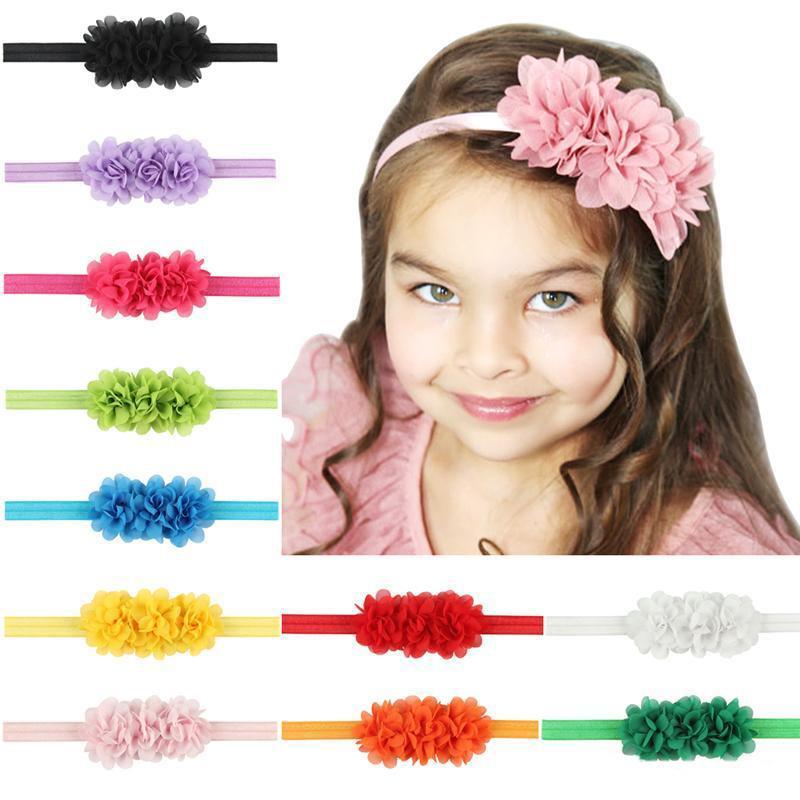 Headbands do bebê Flor Crianças Elastic Chiffon Headband para Meninas Crianças Acessórios Para o Cabelo Recém-nascido 3 Flor Hairbands Headwear Bebê