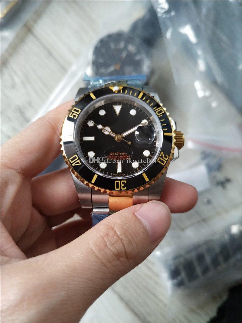 뜨거운 판매 남성 시계 스테인레스 스틸 남자 손목 시계 골드 실버 두 톤 검은 얼굴 (120) 시계
