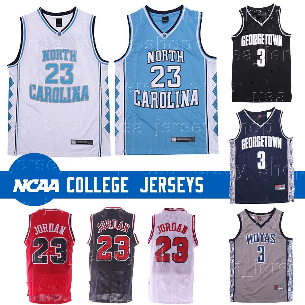 كارولينا الشمالية كعوب القطران 23 مايكل جيرسي ألين 3 إيفرسون جورج تاون Hoyas Ncaa كرة السلة Jerseys منخفضة الأسعار الشحن المجاني