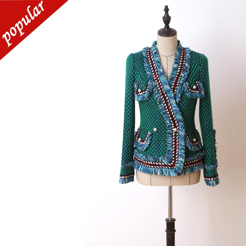 Women Elegant Pearl Buttons Knitted Tweed Blazer Chains Fringe Tassel Jackets Outerwear Ladies V-neck Coats Green Jc2428