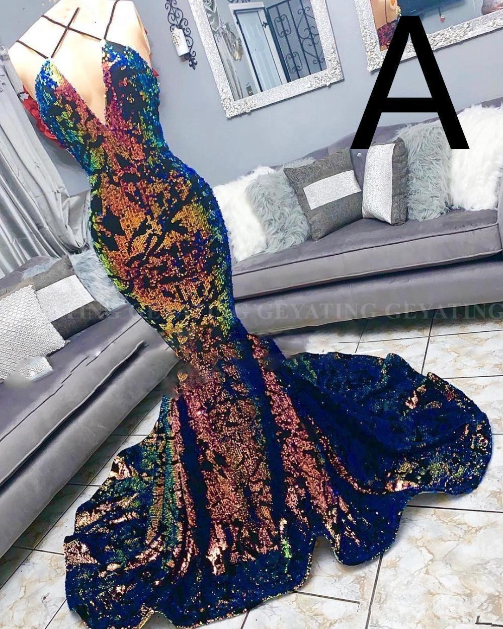 Красочная Блестки Бархатного Mermaid черных девушки Пром платье 2019 V-образный вырез партии вечера Sexy African платье Длинного халат де вечер Одеяние ан блестка